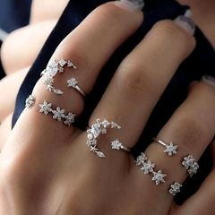 5-piece Set Diamond Ring Female Retro Wedding Festival Star Moon Crystal Ring as picture 1.72cm