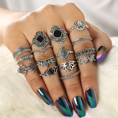 15 Piece Set Ring Personality Hollow Lotus Sunflower Geometric Black Gemstone Ring Set as picture normal