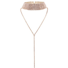 Fashion Personality Jewelry Necklace Multi-layer Full Diamond Necklace gold normal