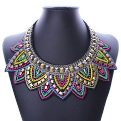 Fashion Retro Ethnic Style Rice Beads Fake Collar Necklace Jewelry as picture normal