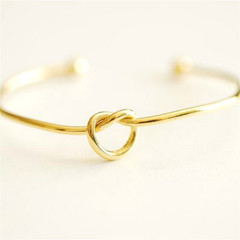 Simple Love Shape Knotted Bracelet Metal Open Bracelet DIY Wild Bracelet gold normal