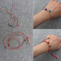 Color Bells muticolor Rope Bracelet Anklet Children's Hand Rope as picture 22cm