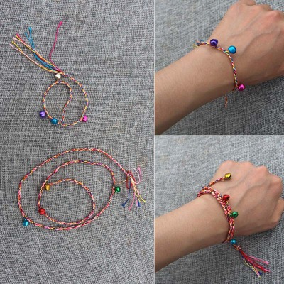 Color Bells muticolor Rope Bracelet Anklet Children's Hand Rope as picture 22cm