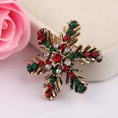 Christmas Snowflake Brooch Creative Gift Color Crystal Pin