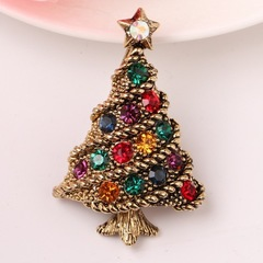 Christmas Brooch Gift Suit Accessories Vintage Diamond Christmas Tree Pin gold one size