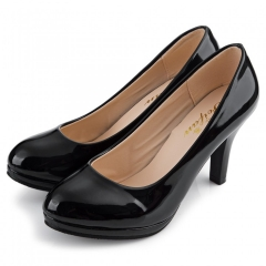 Elegant Ladies Solid Color Shallow Mouth Round Toe Patent Leather Thick High Heel Shoes black 40