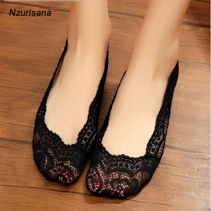 1 Pair Women Invisible Boat Socks Lady Cotton Lace Anti-skid Invisible Liner No Show Low Cut Socks Black One size