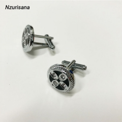 Round Lucky Four-Leaf Clover Cufflink for Men Wedding Business Casual silver normal