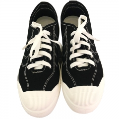 2018 Mens Shoes Casual Comfortable Footwear Summer Flat Men Canvas Shoes Lace-up Solid black 39