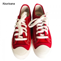 【You need this】Women Fashion Denim Canvas Casual Sneakers red 37