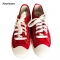 Women Fashion Sneakers Denim Canvas Casual Shoes Trainers Walking Skateboard Flats red 37