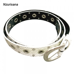 White Leather Belts For Women's Belts Waist Sliver Metal Buckle Strap For Ladies Jeans Wild Belt