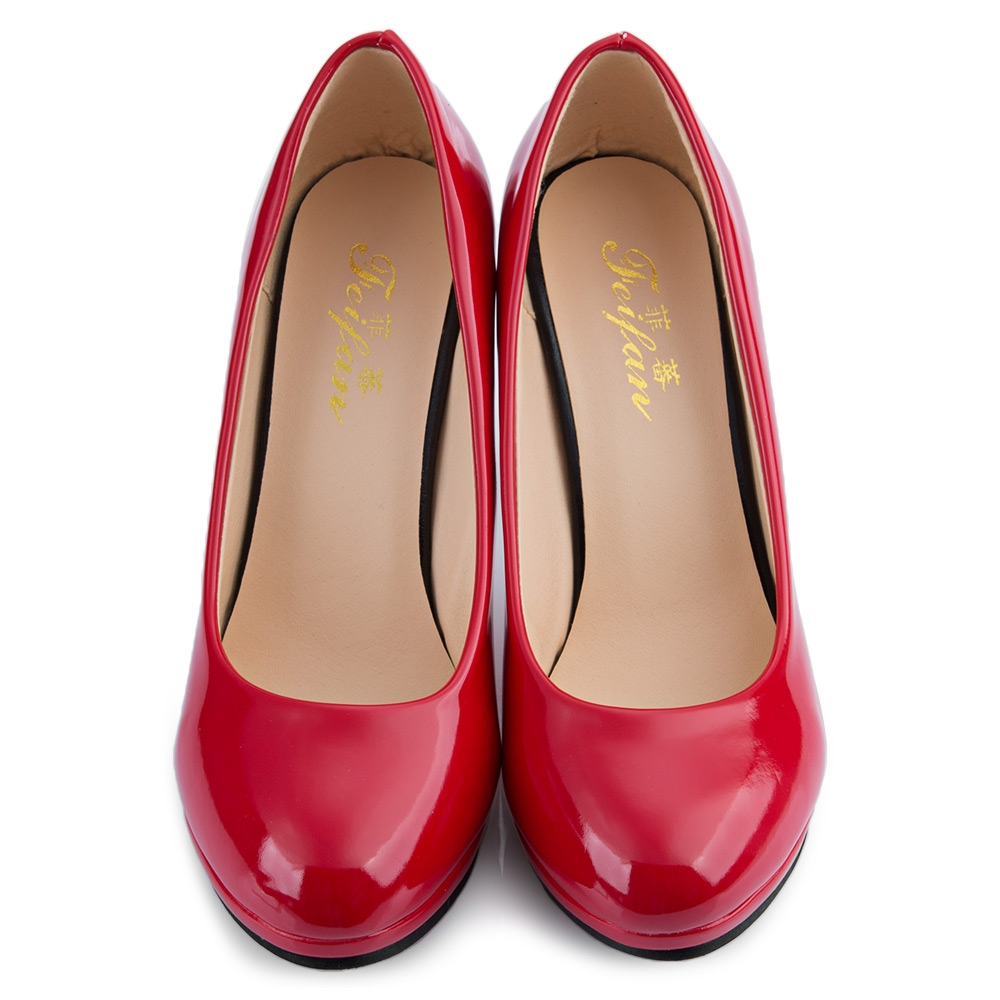 Elegant Ladies Solid Color Shallow Mouth Round Toe Patent Leather ... 87c614647f936
