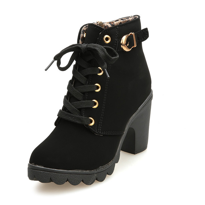 Lace-Up Ankle Boots Women's Shoes Causal Martin Boots Flat Shoes Black 40