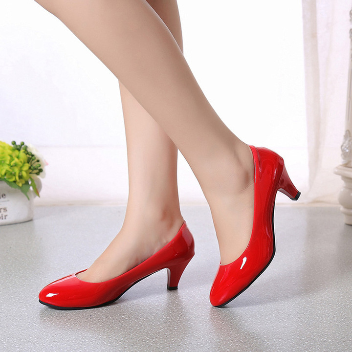 Elegant Ladies Shallow Mouth Low Heel Sandals Shoes Red 40