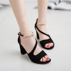 Summer New Rome Rough Heel Sandals Women Fish Mouth Female Sandals Black 39