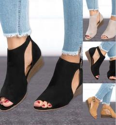 Summer Shoes Woman Platform Sandals Women Soft Leather Casual Peep Toe Gladiator Wedges Beige 35