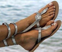 Summer New Hot Sale Flat Snake Pattern Sexy Large Size Women's Sandals silver 35