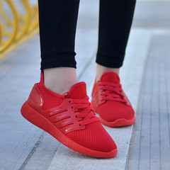 Couple Models Spring and Autumn Breathable Casual Shoes Sports Running Women Men Shoes red 39 for men