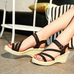 Women Wedges Shoes Summer Sandals Platform Toe High-Heeled Shoes White 35