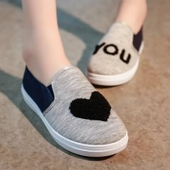 Women Love You Casual Slip-on Flat Canvas Lazy Shoes Sneakers Loafers Size 35-41 Gray 35