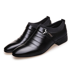 Men's Leather Shoes Formal Wear Business Casual Shoes black 39 leather