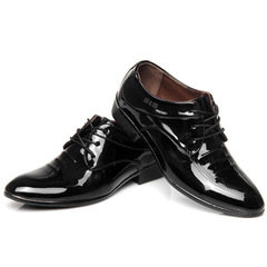 New Men's Business Casual Shoes Bright Face British Men's Leather Shoes black 40 leather