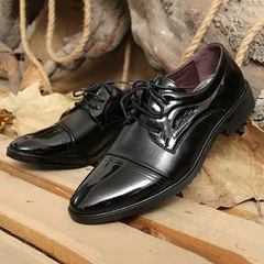 New Men's Casual Fashion Men's Leather Shoes Daily Business Work Shoes black 39 leather