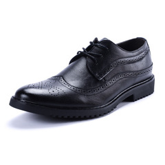 2019 New Men's Leather Shoes with Brock Carved Leather Shoes black 40 leather