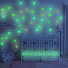 3D Wall Stickers 100Pcs/Bag Stars Decal Glow Fluorescent  Home Decor green AS THE PICTURE normal
