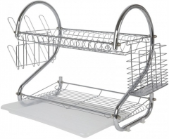 High Quality Stainless Steel 2 Tier Kitchen Dish Rack Storage Rack Drain Dish Rack silver normal