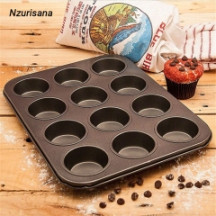 12 Cups Cupcake Mental Mold Non-stick Cake Baking Tray Muffin Pan Cake DIY Bakeware Dessert Tool black normal