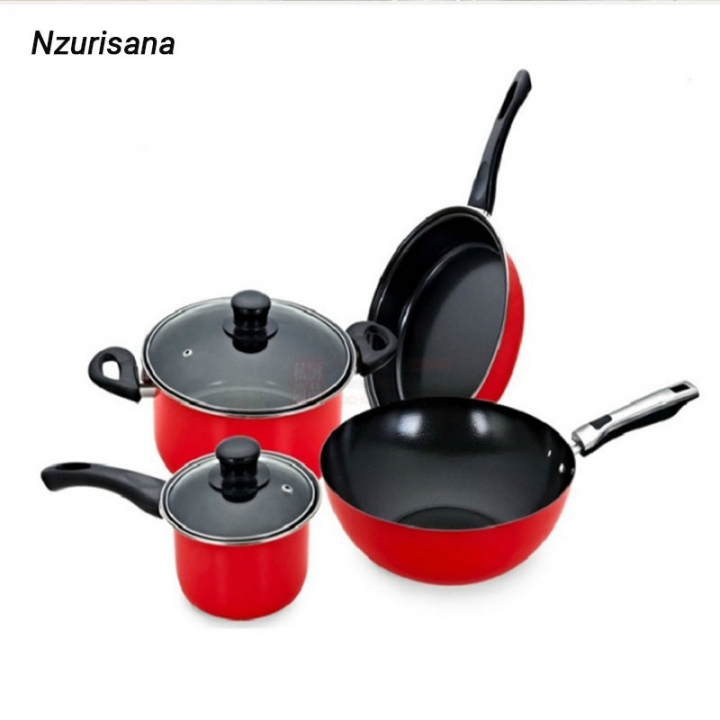 Kitchen Products  Light  Duty Non-Stick Pots  4 Piece Kitchen Supplies Wok Saucepan pot milk pot RED normal