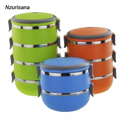Lunch Box Thermal For Food Bento Box Stainless Steel Lunch Box For Kids Portable Picnic School green two layers