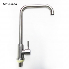 Single Function Cold Water Alloy Kitchen Cold Kitchen Tap Single Hole Water Tap Kitchen Faucet silver normal
