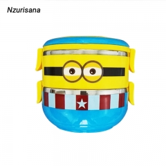 Cute Cartoon Lunch box For Kids With Plastic Tiffin Boxes Thermal stainless steel Dinnerware Sets yellow normal