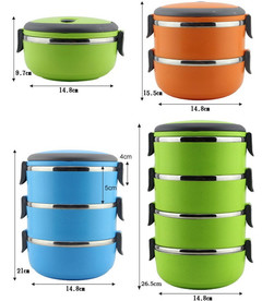 Lunch Box Thermal For Food Bento Box Stainless Steel Lunch Box For Kids Portable Picnic School orange three layers
