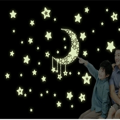 Cute Fluorescent Wall Stickers Moon Stars Luminous Stickers Children Cartoon Room Decoration as the picture 29.7*21cm