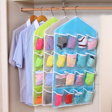 16 Grids Buggy Bag Receive Underwear  Random  Socks Storage Organizer Save Vertical Space green