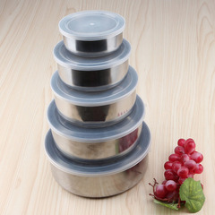 Round Shape Preservation Bowls Tools Stainless Steel Kitchen Dinnerware Food Container Lunch Box mixed color normal
