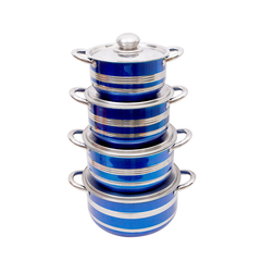 8PCS Top Fashion Real Cookware High Quality Blue Non-stick Cookware Stainless Steel Cooking Pots mixed color normal