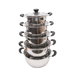 Multipurpose 10PCS Non-stick Gas Cookware Stainless Steel Soup Pots Cooking Tool Sets silver set
