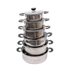 Multipurpose 12PCS Non-stick Gas Cookware Stainless Steel Soup Pots Cooking Tool Sets silver normal