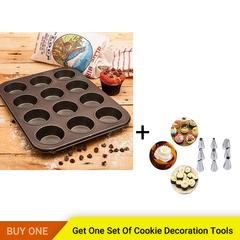 12 Cups Cupcake Mental Mold Non-stick Cake Baking Tray Muffin Pan Cake DIY Bakeware Dessert Tool black normal