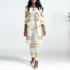 2018 Women Printing Suits Ankle-Length Pants Capri Sexy Office Dresses Tops Pants Holiday X00005 white l