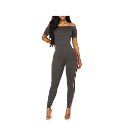 2018 Women's Off Shoulder Stripe Jumpsuit Ankle-Length Pants Sports Sexy High quality Office X00001 grey s