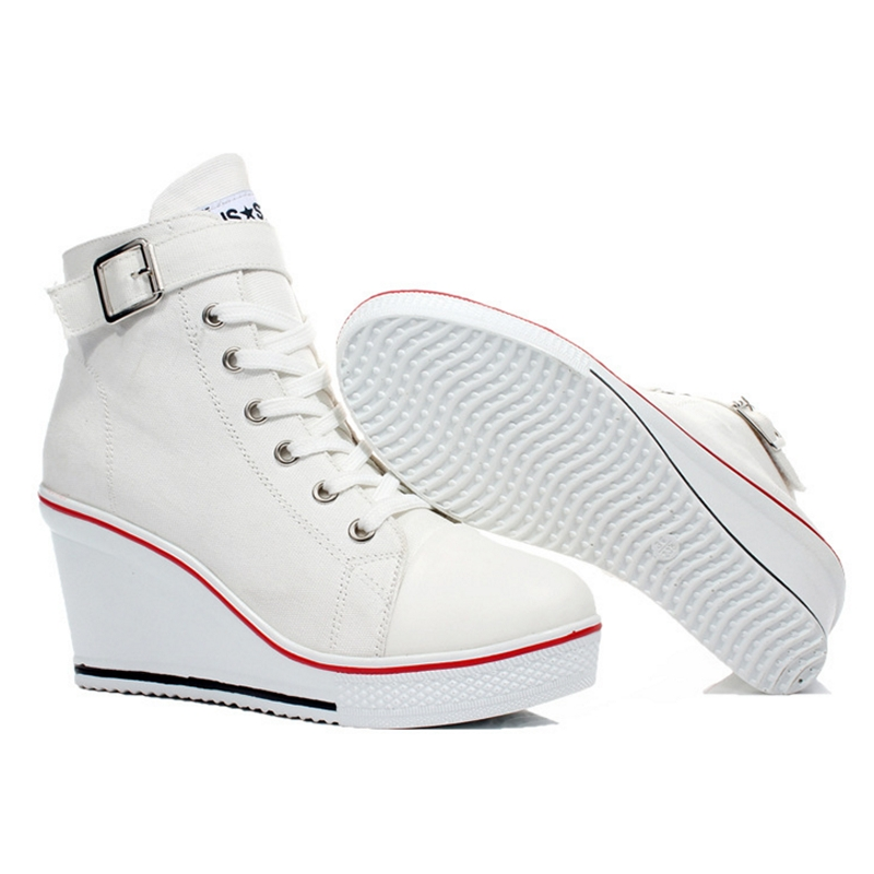6aff96fe75 Woman Canvas Shoes Wedges Platform Sneakers for Women 8cm High Heels ...