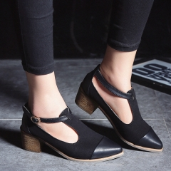 Women Sexy Single Lace-up Shoes Ladies Potined Toe High Heels Shoes Summer Sandals black 39