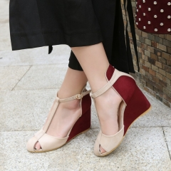 Woman Patchwork High Heel Platform Shoes T-strap Buckle Cover Toe Wedges Sandals red 36