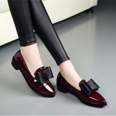 Women Bowtie Square Heels Patent Leather Shoes Sewing Slip on Platform Low Thick Heels British Shoes red 35